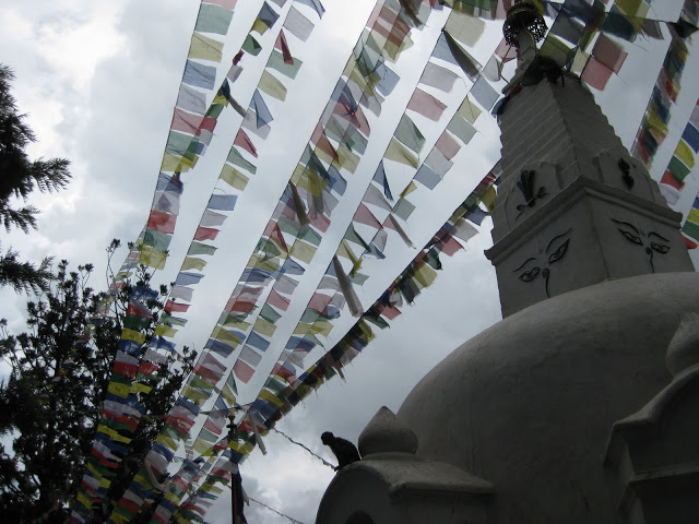 prayer flags and monkeys
