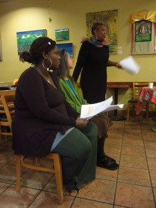 Denise (standing) reading a scene from her play with the help of some friends...