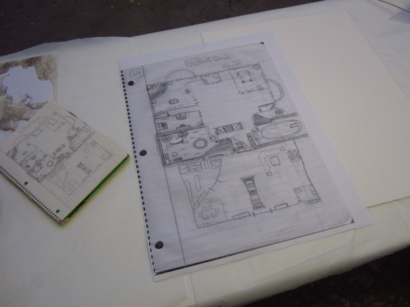 First, the original childhood drawing was enlarged and printed...
