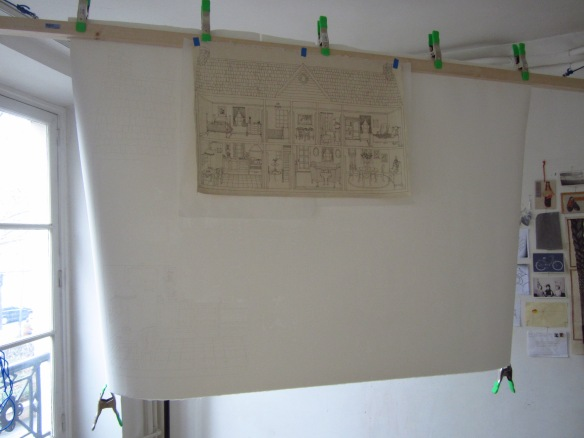 My piece hanging in the studio, with my original drawing - my 'map' as I navigated the vast network of pre-punched needle holes...